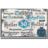 Billet, Autriche, Bad Gastein 20 Heller, Village, 1920, 1920-12-31, SPL FS 75IIa - Autriche