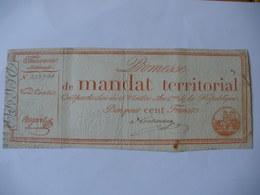 PROMESSE DE MANDAT TERRITORIAL 100F DU 28 VENTOSE AN 4 LAF 197 - Assignats & Mandats Territoriaux