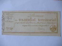 PROMESSE DE MANDAT TERRITORIAL 250F DU 28 VENTOSE AN 4 LAF 198 - Assignats & Mandats Territoriaux