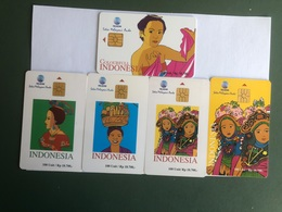 Indonesia -  5 Different Chip Cards With Wimans - 40000 Ex - Indonesia