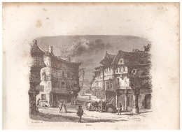 1844 - Gravure Sur Bois - Dinan (Côtes-d'Amor) - Une Rue - FRANCO DE PORT - Estampes & Gravures