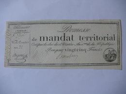 PROMESSE DE MANDAT TERRITORIAL 25F DU 28 VENTOSE AN 4 LAF 200 SERIE 22 - Assignats & Mandats Territoriaux