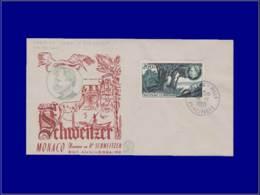 Oiseaux - Année: 1955 - MONACO,YV. YV. PA 59,ENV. ILL. 14/1:Schweitzer*,pélican* - Oiseaux