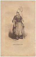 1844 - Gravure Sur Bois - La Roche-sur-Yon (Vendée) - Costume Féminin - FRANCO DE PORT - Prints & Engravings