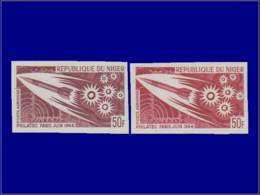 Astronautique - Année: 1964 - NIGER,YV. PA 42,2 ESSAIS DE COULEURS DIFFERENTS,XX Philatec,fusée*. - Space