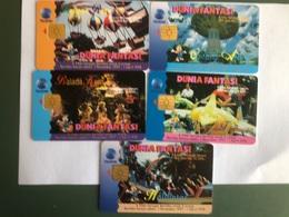 Indonesia - Set Of 5 Nice Chip Cards - Duna Fantasia - 10000 Ex - Indonesia
