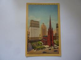 "Cartolina ""TRINITY CHURCH AT BRODWAY AND WALL STREET, NEW YORK CITY""  Anni '50 - Broadway"