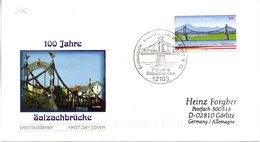 """BRD Schmuck-FDC  """"100 Jahre Salzachbrücke"""", Mi. 2347 Selbstklebend ESSt 12.6.2003 BERLIN ZENTRUM - FDC: Enveloppes"""