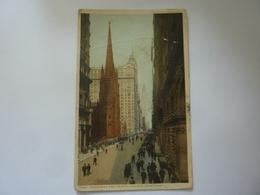 "Cartolina ""BRODWAY AND TRINITY CHURCH, NEW YORK"" 1928 - Broadway"