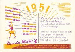 Publicité Commerce électroménager - Van Der Molen Amsterdam Radio-Gramofoonplaten, Frigidaire - Carte De Voeux 1951 - Pubblicitari