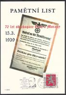 Tschech. Rep. / Denkblatt (PaL 2009/03) 119 00 Praha 012: 70 Ann. Besetzung Der Tschechoslowakei (Hacha, Blaskowitz) - Böhmen Und Mähren