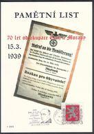 Rep. Ceca / Foglio Commemorativo (PaL 2009/03) 119 00 Praha 012: 70 Ann. Occupation De La Tchécoslovaquie - Seconda Guerra Mondiale