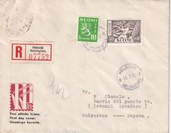 FINLANDE 1952 LETTRE RECOMMANDEE  DE HELSINKI POUR L'ESPAGNE AVEC CACHET ARRIVEE - Finnland