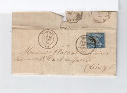 Sur Lettre AC Type 15 C. Sage. CAD Thoissey Ain 1882. CAD St Chamond Loire. (1130x) - Marcophilie (Lettres)