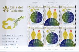 PIA  -  VATICANO - 2018 : 70° Anniversario Della Dichiarazione Dei Diritti Dell' Uomo - Foglietto - Vatican
