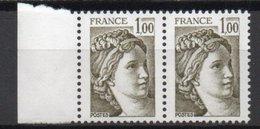 - FRANCE Variété 2062f ** - 1 F. Olive Type Sabine 1979 - 1 BARRE Tenant à 2 DEMI-BARRES DE PHOSPHORE - Cote 20 EUR - - Variétés Et Curiosités