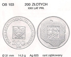 POLAND 1974 30 YEARS Of POLISH PEOPLE'S REPUBLIC 200 Zloty SILVER - Pologne