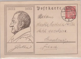 Entier Goethe 15Pf, De Kehl Pour Strasbourg, 12/10/1933 - Deutschland