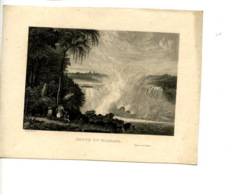 Piece Sur Le Theme De Eau Forte -  Chute Du Niagara - Voyage En Amerique - Schroeder Sc - Vieux Papiers