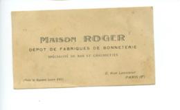 Piece Sur Le Theme De Carte Publicitaire De La Maison Roger Situee 2 Rue Lavoisier -Paris - Cartes De Visite
