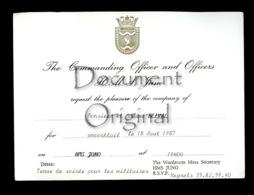 Piece Sur Le Theme De Militaria - Correspondance - The Commanding Officer And Officers - 18 Aout 1987 - HMS Juno - Militaria