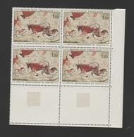 FRANCE / 1968 / Y&T N° 1555 ** : Peinture Rupestre De La Grotte De Lascaux X 4 CdF Inf D - Gomme D'origine Intacte - Unused Stamps