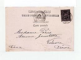 Sur Carte Postale Constant Pour Valence Type Blanc 10 C Vert Jnoir Lilas CAD Constantinople 1901. CAD Valence. (1135x) - 1858-1921 Empire Ottoman