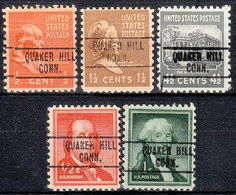 USA Precancel Vorausentwertung Preo, Locals Connecticut, Quaker Hill 748, 5 Diff. - Vereinigte Staaten