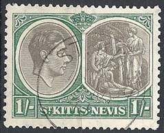 St. Kits & Nevis, 1938 King George VI & Columbus Looking, 1sh # S.G. 75 - Michel 79 - Scott 86  USED - St.Christopher-Nevis & Anguilla (...-1980)