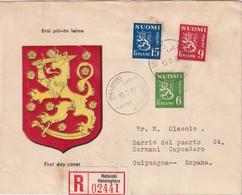 FINLANDE 1948 LETTRE RECOMMANDEE  DE HELSINKI POUR L'ESPAGNE AVEC CACHET ARRIVEE - Finnland
