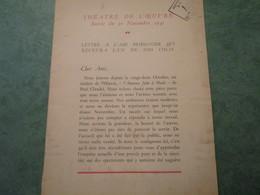 THEATRE DE L'OEUVRE - Soirée Du 30 Novembre 1941 - Lettre à L'ami Prisonnier Qui Recevra L'un De Nos Colis - 1939-45