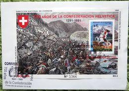 "Bolivia 1990: Michel-No.964C =  Block 190 ""700 ANOS CONF HELVETICA - BATAILLA DE MORGARTEN 1315 Auf FDC C6 Mit O19.10.90 - Militaria"