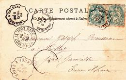 Sur Type Blanc Obl CCL Courrier Convoyeur Ligne  Dreux A Chartes; Chatres A Orléans; Voves A Toury; Gare De Voves - Postmark Collection (Covers)