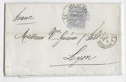 ESPAGNE - 1883 - LETTRE De MADRID ESTAFETA DE CAMBIO => LYON - ENTREE AMBULANT IRUN à BORDEAUX - 1875-1882 Königreich: Alphonse XII.