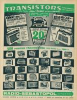 Ancienne Publicité (1960) : RADIO-SEBASTOPOL, Transistor, Pigmy, Océanic, Marconi, Radiola, Grandin, Jicky, Pizon-Bros - Advertising
