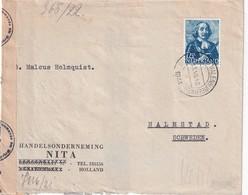 PAYS-BAS 1944 LETTRE CENSUREE DE ROTTERDAM POUR HALMSTAD - 1891-1948 (Wilhelmine)