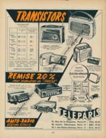 Ancienne Publicité (1960) : TELEPARIS, Transistor, Schaub-Lorenz, Océanic, Pizon-Bros, Ducretet, Auto-radio, Philips... - Advertising
