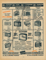 Ancienne Publicité (1960) : ROLLAND-RADIO, Transistor, Pygmy, Philips, Pizon-Bros, Ducretet, Océanic, Radialva, Tevox... - Advertising