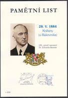 Rep. Ceca/ Foglio Commemor (PaL 2009/05) Kozlany: 125 Ann. Nascita Dr. Edvard Benes, Secondo Presidente Della Cecoslov. - Seconda Guerra Mondiale