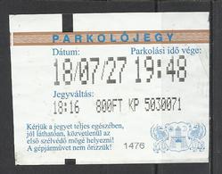 Hungary, Budapest, Parking Ticket, 2018. - Tickets D'entrée