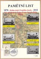 Tchéquie / Feuille Commémorative (PaL 2010/01) Ceske Budejovice 2: Ligne De Chemin De Fer De L'empereur François-Joseph - Tchéquie