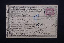 INDES HOLLANDAISES - Affranchissement De Soerabaja Sur Carte Postale En 1915 Pour Paris , Taxé - L 23548 - Indes Néerlandaises