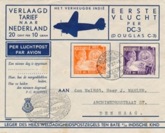 Nederlands Indië - 1937 - 12,5 En 7,5 Cent Leger Des Heils On Special Flight From LB Bandoeng/14 To Den Haag / NL - Indes Néerlandaises