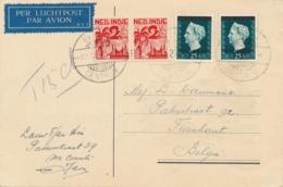 Nederlands Indië - 1948 - 2x 25 Cent INDONESIA Opdruk + 2x 2,5 Cent Op LP-Kerstkaart Taxed 15ct Van Batavia/15 Nr België - Nederlands-Indië