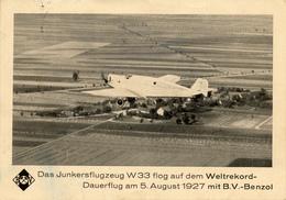 JUNKERS W 33 , Weltrekord Mit B.V.-Benzol Treibstoff - Karte Des Benzol-Verbandes Bochum - Ausrüstung