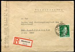 """German Empires 1944  SS Behörden Reco/Einschreib Bedarfsbrief München SS Kaserne Mit Mi.Nr.795 Und Tstp""""München """"1 Beleg - Deutschland"""