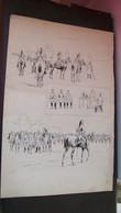 """""""Aux Manoeuvres"""" - Gravure, Planche De Trois Dessins Noir Et Blanc Au Trait  - Dragons, Cavalerie, Humour - 1914-18"""