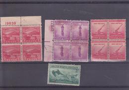 PIE-T-19-966 : TROIS BLOCS DE QUATRE TIMBRES  + TIMBRE  U.S. COAST GUARD . NEUF SANS GOMME. - Unused Stamps