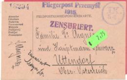 Feldpostkorrespondenzkarte  Fliegerpost Przemysl 1915 Mit Zensurstempel Und Zensur Unterschrift Nach Uttendorf O-Öst. - Guerre 1914-18