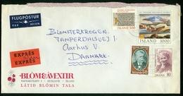 BR Island | 1981 Luftpost Eil Brief Von Reykjavik Nach Dänemark, Aarhus ( Blom & Avextir ) - 1944-... Republique